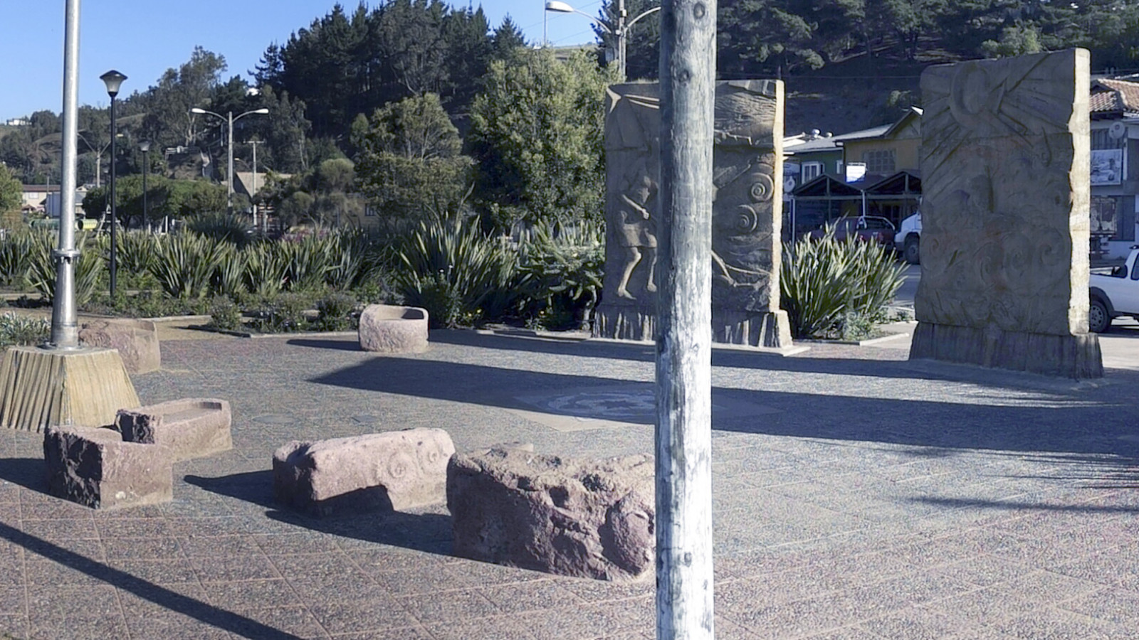 Public installation of Gregorio Berchenko, Coast of South Chile